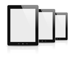 Three electronic tablets