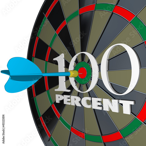 100 Percent Words Dart Board One Hundred Total Full