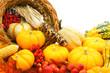 Harvest or Thanksgiving cornucopia of autumn vegetables