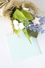 blank paper note with flowers