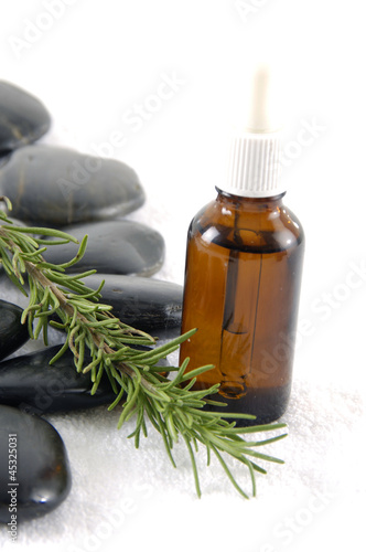 aroma therapy- rosemary, essential oil and stones