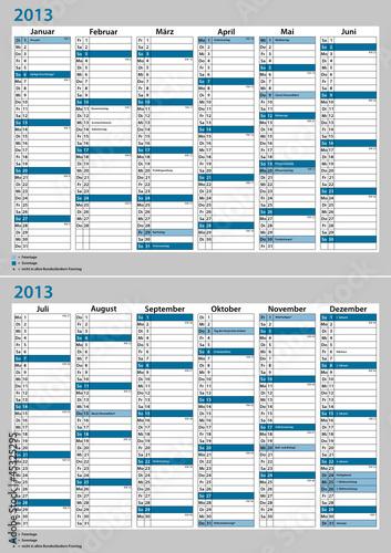 Kalender Deutschland 2013 Januar - Dezember