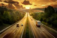 "Постер, картина, фотообои ""Highway trafin in sunset"""