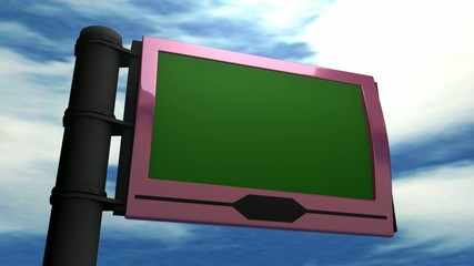3d animation, big display panel with green screen.