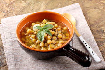 Chickpea soup on bowl