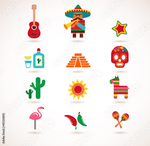 Mexico love - set of vector icons