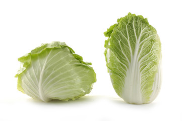 Two fresh cabbage on white