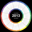 Vector calendar 2013 round wuth international holidays
