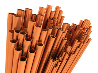 3d Copper pipes display