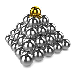 3d Chrome ball pyramid with gold top