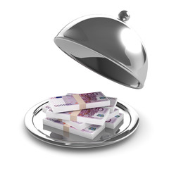3d Silver platter with Euros