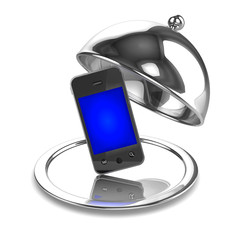 3d Silver service with smartphone