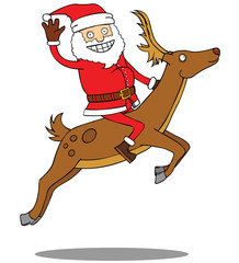 Santa Claus riding his deer