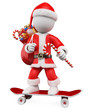 3D Christmas white people. Santa Claus riding skateboard