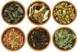 Dried Herbal Tea leaves, Peels, flowers in Wooden Bowls