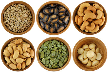 Roasted, Salted Different kinds of Seeds and Nuts