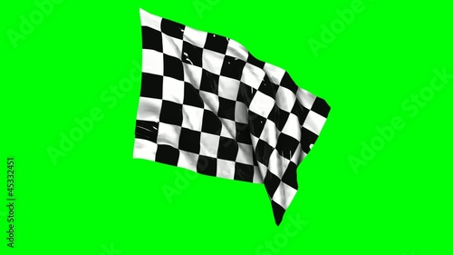 Waving checkered flag animation with green screen.