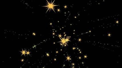 Fireworks, star sky