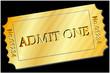 Ticket  - Admit One in Gold