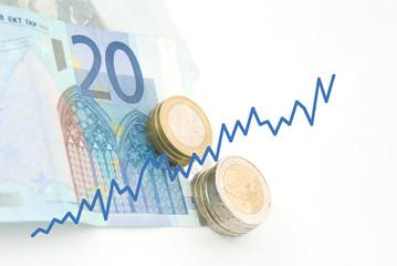 Geld mit steigender Kurve