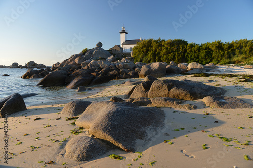 lighthouse on rocks Atlantic coast of Brittany