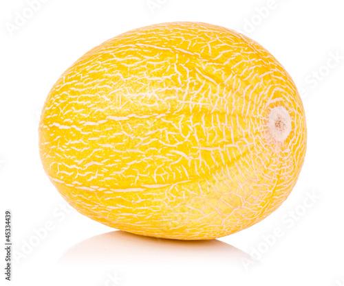 Single whole fresh honeydew melon isolated on a white background