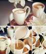 Coffee cups with flowers