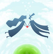 loving man and woman with heart vector illustration EPS10.