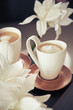 Porcelain cups of coffee