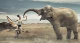 Fototapety Sexy fashionable lady with elephant