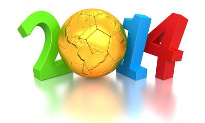 2014 WM - goldener Ball mit Brasilien Kontur