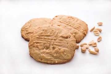 Peanut butter cookies and peanuts