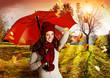 Leinwandbild Motiv umbrella 06/Mädchen in wunderschöner Herbstlandschaft
