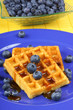 Waffle with syrup and fresh blueberries