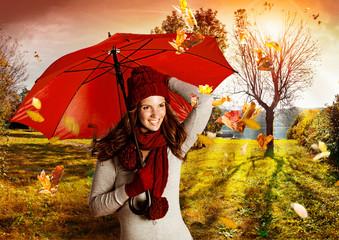 umbrella 06/Mädchen in wunderschöner Herbstlandschaft