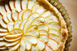 Apple tart detail with apple slices fanned in a pattern