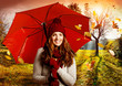 canvas print picture umbrella 07/girl with umbrella in beautiful autumn landscape
