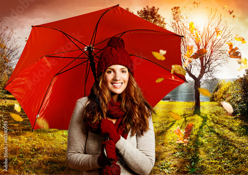 Leinwandbild Motiv umbrella 07/girl with umbrella in beautiful autumn landscape