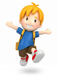 Fototapety 3d render of a jumpi boy with backpack