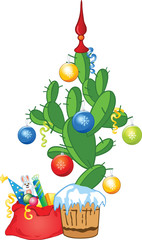 New Year cactus as fir-tree with balls and ribbons