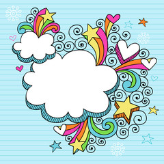 Clouds Picture Frame Groovy Doodles Vector Design