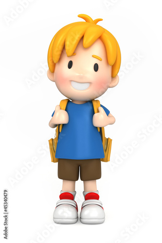 3d render of a happy boy with backpack