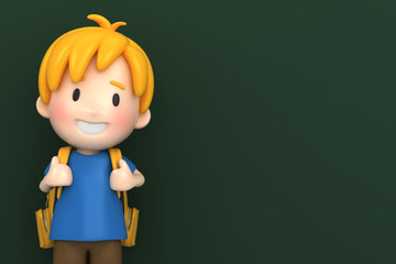 3d render of a school boy with chalk board background