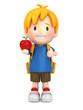 3d render of a school boy holding an apple