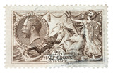 King George V and Rule Britannia UK mail stamp, circa 1915 poster