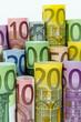 Gerollte Euro-Geldscheine