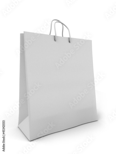 3d render of a white shopping bag