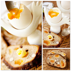 Healthy breakfast: boiled egg and  bread.Collage.