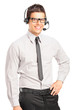 Handsome male customer service operator wearing a headset