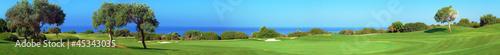 Leinwanddruck Bild Panorama of Golf field, sea and olives